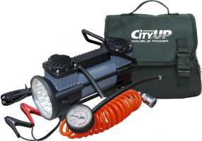"""Компрессор автомобильный """"City Up"""" AC-619 Double Piston Station, с фонарем"""