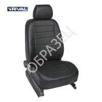 Авточехлы ЭкоКожа (RIVAL) Chevrolet Cobalt Sd задняя спинка раздельная, рисунок Строчка 2011-